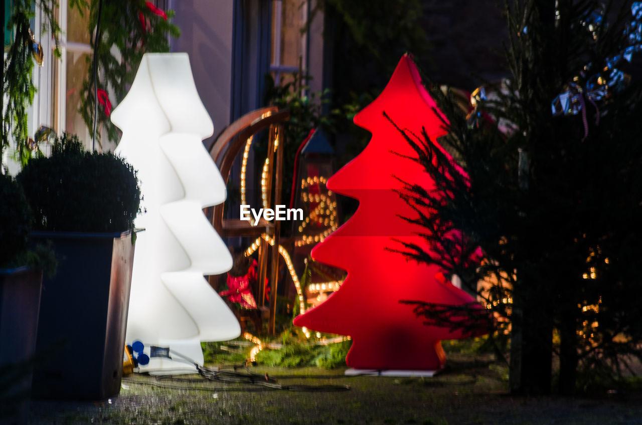 christmas, decoration, christmas decoration, celebration, christmas tree, illuminated, night, no people, tradition, tree, focus on foreground, christmas ornament, holiday - event, christmas lights, outdoors, lantern, close-up