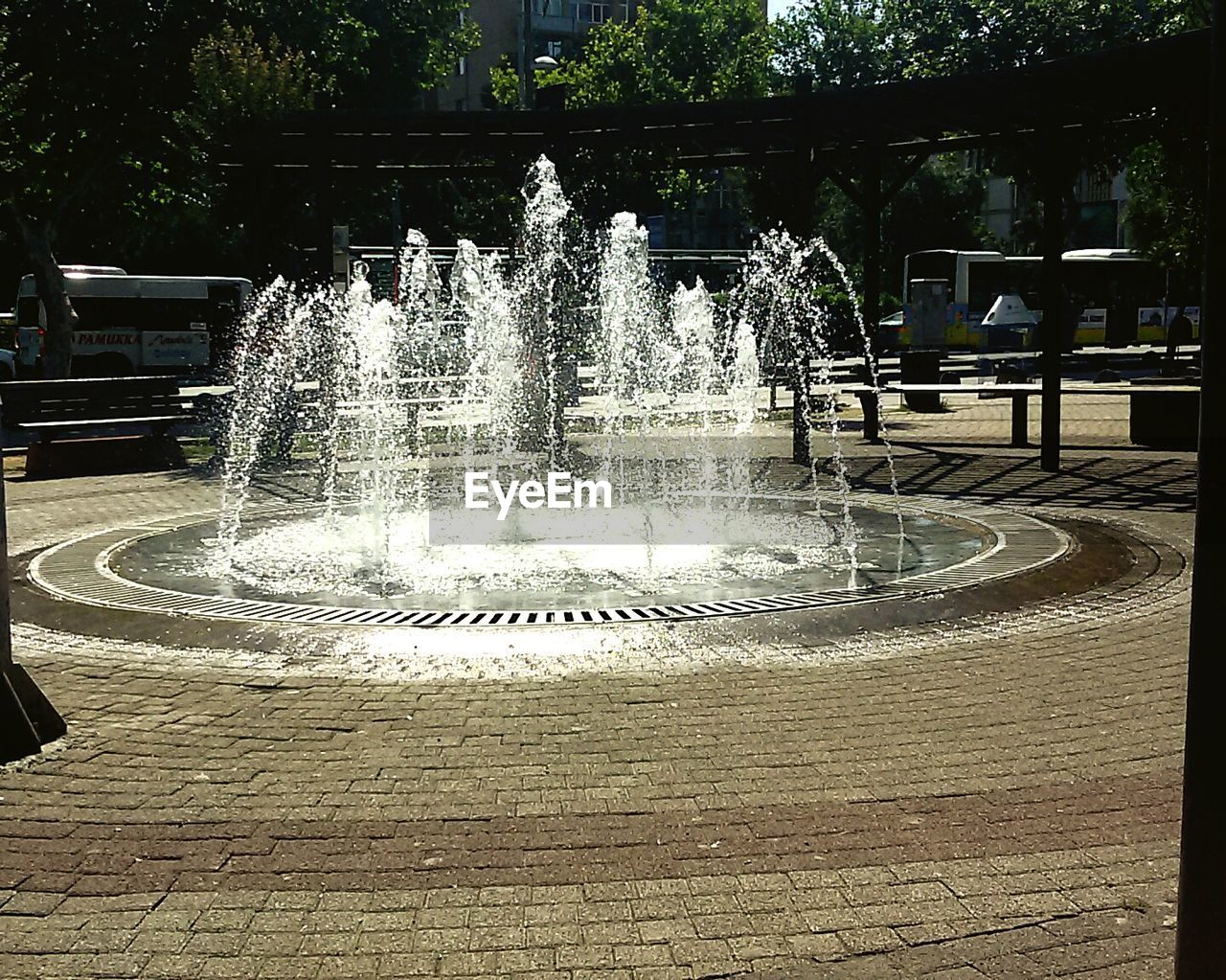 fountain, water, spraying, motion, splashing, day, tree, outdoors, no people, sunlight, drinking fountain, irrigation equipment, nature