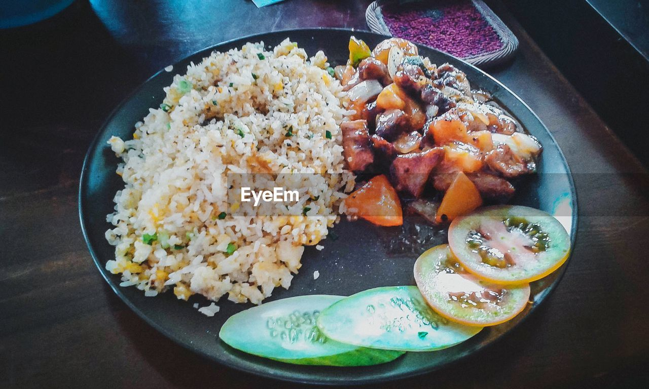 food and drink, food, plate, rice - food staple, no people, high angle view, serving size, ready-to-eat, freshness, indoors, rice, healthy eating, fried rice, close-up, day