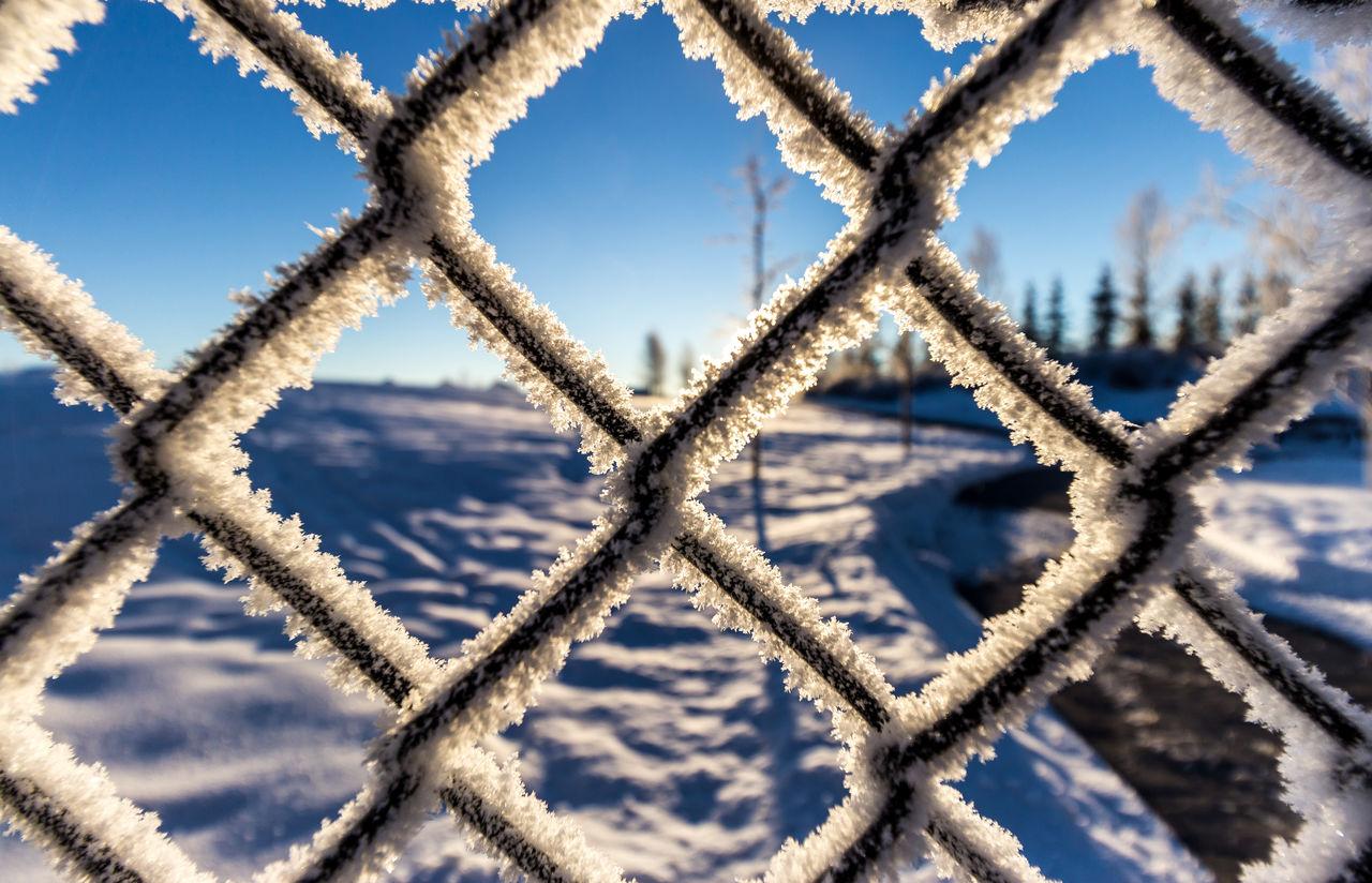 Detail shot of snowed railing