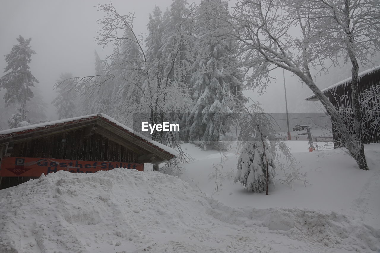 snow, cold temperature, winter, tree, architecture, built structure, building exterior, plant, building, nature, house, covering, white color, no people, beauty in nature, frozen, bare tree, day, tranquility, extreme weather, cottage, snowcapped mountain, snowing