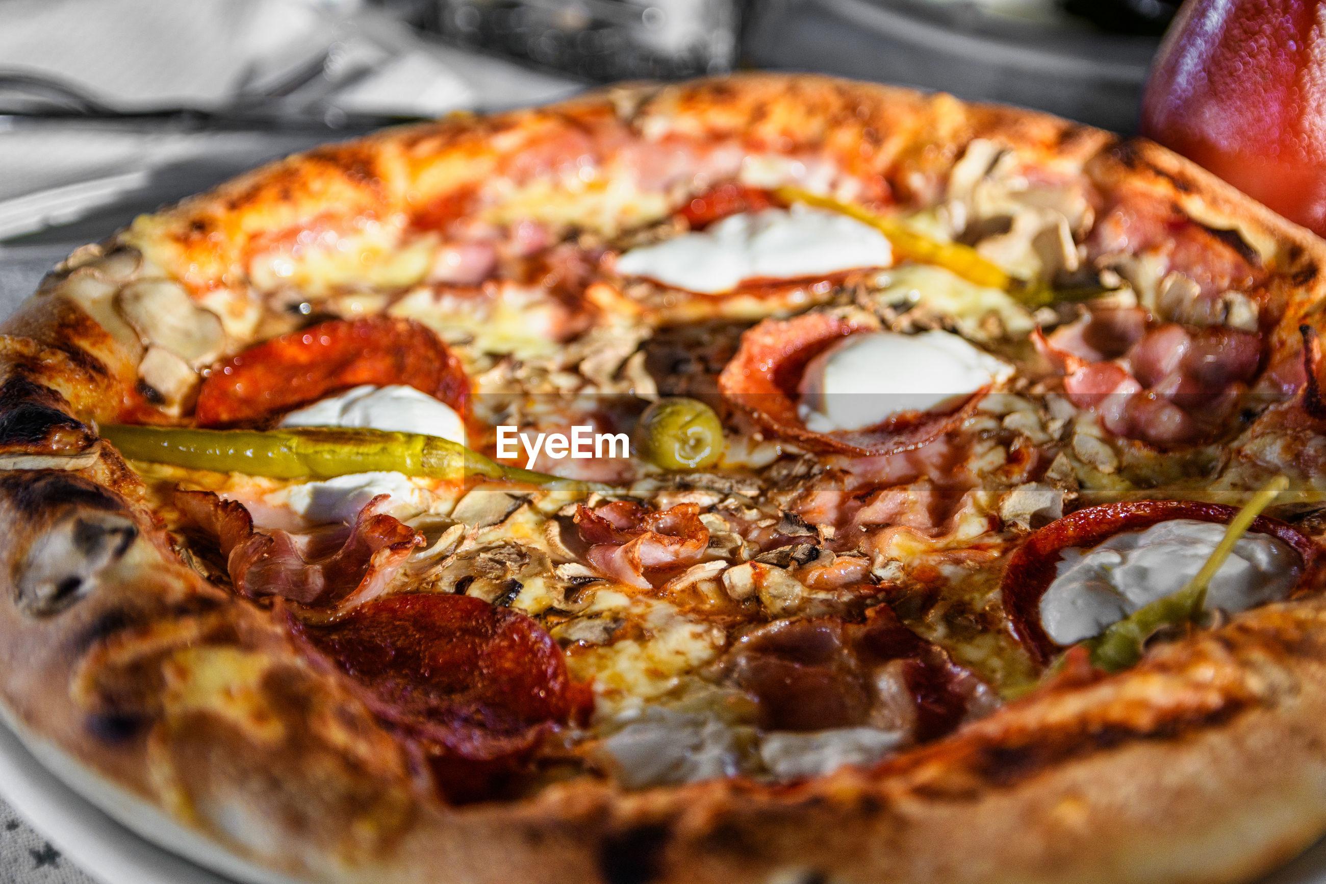 Closeup photo of pizza.