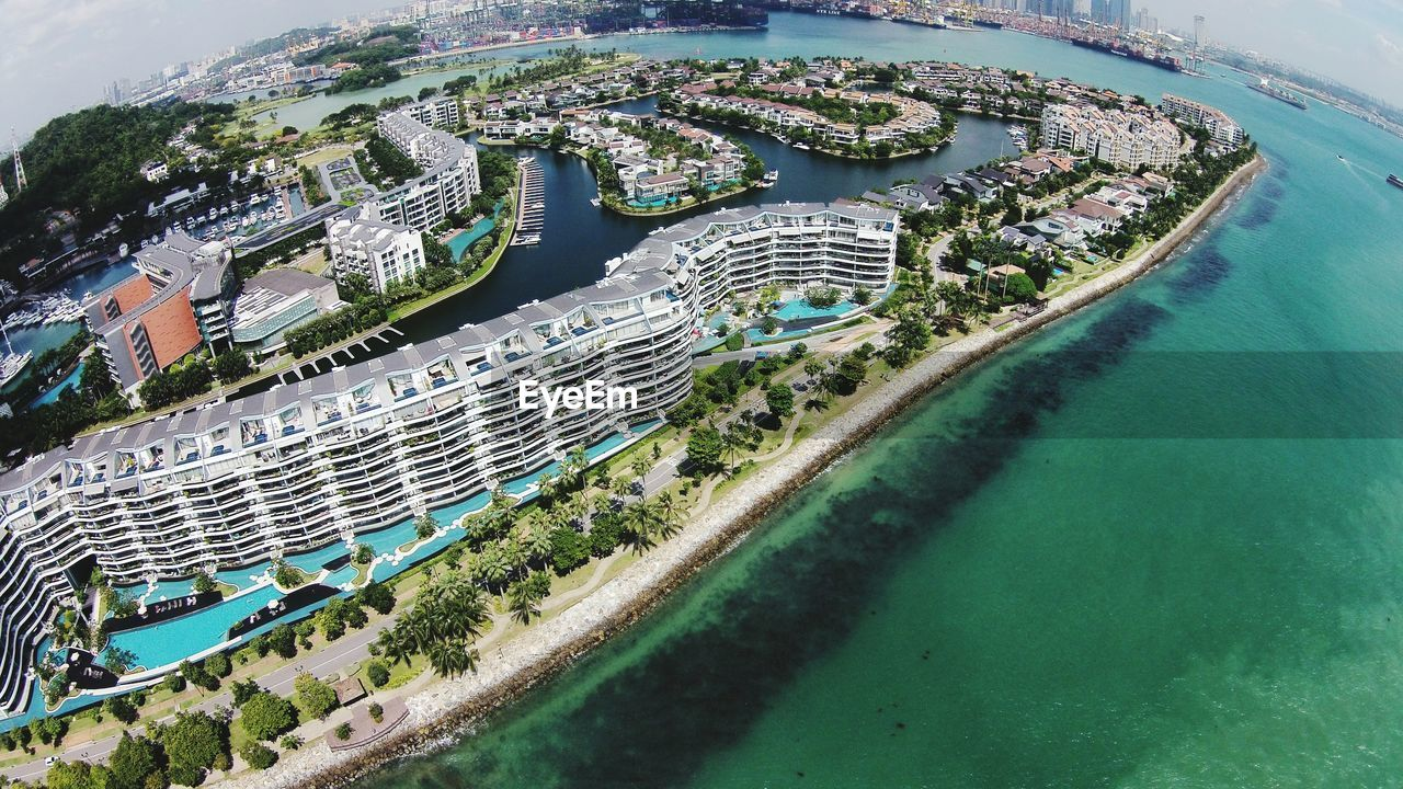 Aerial View Of Luxury Hotel By Sea