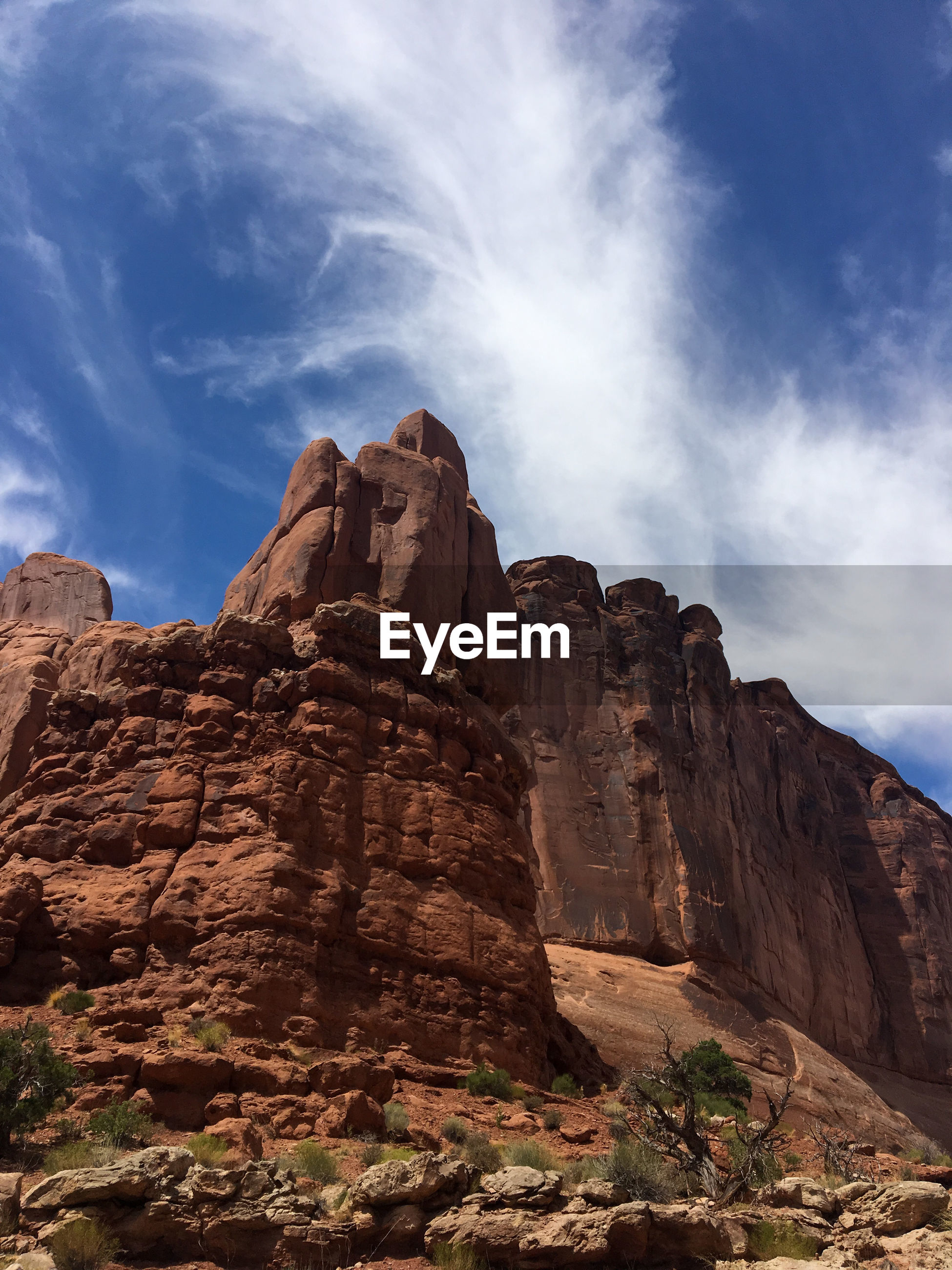 Low angle view of rock formations. arches national park