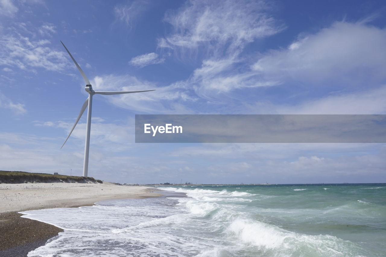 water, sky, sea, scenics - nature, cloud - sky, environmental conservation, environment, turbine, renewable energy, alternative energy, beauty in nature, land, wind turbine, fuel and power generation, nature, wind power, motion, no people, beach, horizon over water, outdoors, power in nature