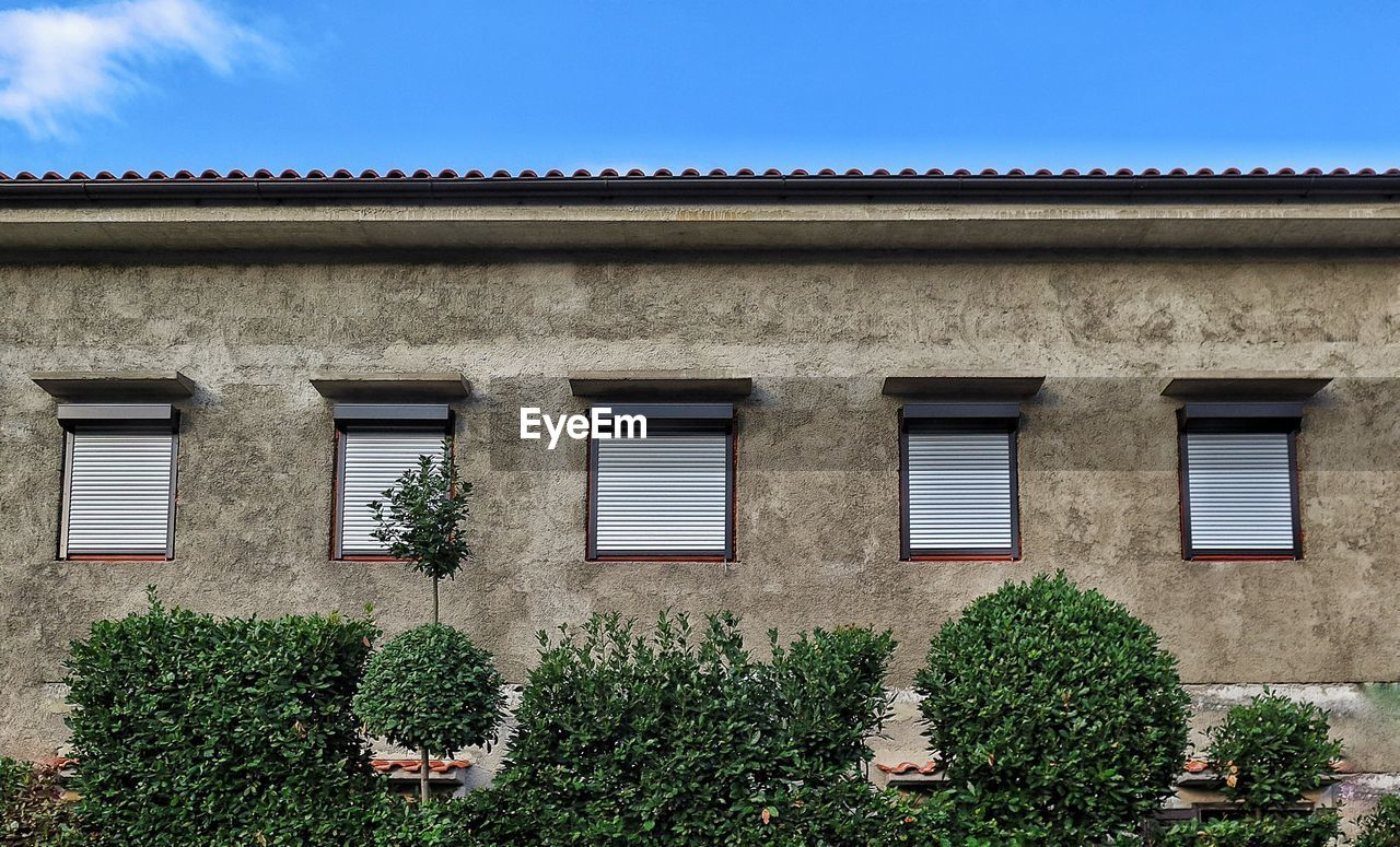 building exterior, architecture, window, built structure, day, outdoors, house, no people, plant, residential building, growth, low angle view, clear sky, sky