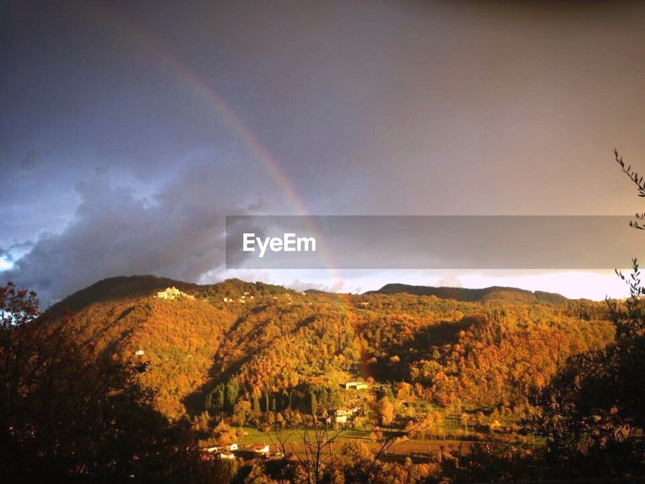 rainbow, beauty in nature, nature, scenics, mountain, double rainbow, no people, tranquility, outdoors, landscape, sky, tree, day