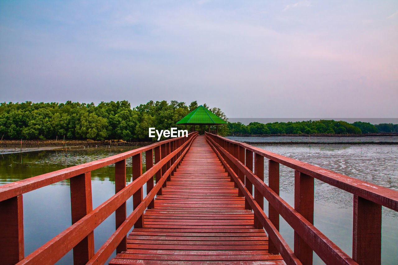 water, sky, railing, direction, the way forward, nature, built structure, architecture, scenics - nature, plant, beauty in nature, tranquility, no people, tranquil scene, wood - material, tree, lake, cloud - sky, connection, diminishing perspective, outdoors, footbridge, wood paneling, long