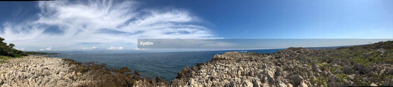 sky, cloud - sky, scenics - nature, panoramic, beauty in nature, tranquil scene, tranquility, sea, water, nature, mountain, idyllic, day, land, no people, non-urban scene, beach, rock, horizon, horizon over water, outdoors