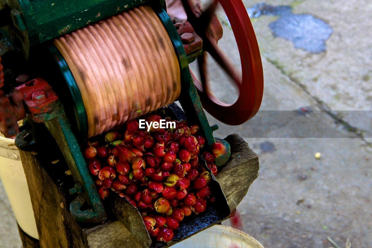 High angle view of coffee crops in machinery