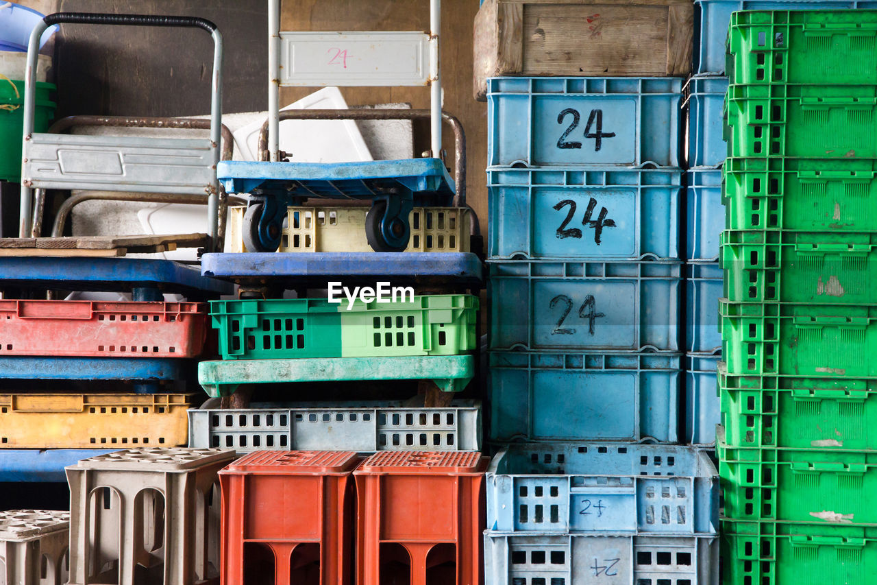 Stack of crates in warehouse