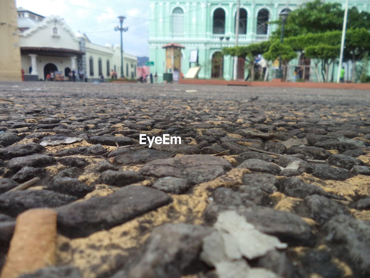 Surface level of cobblestone road