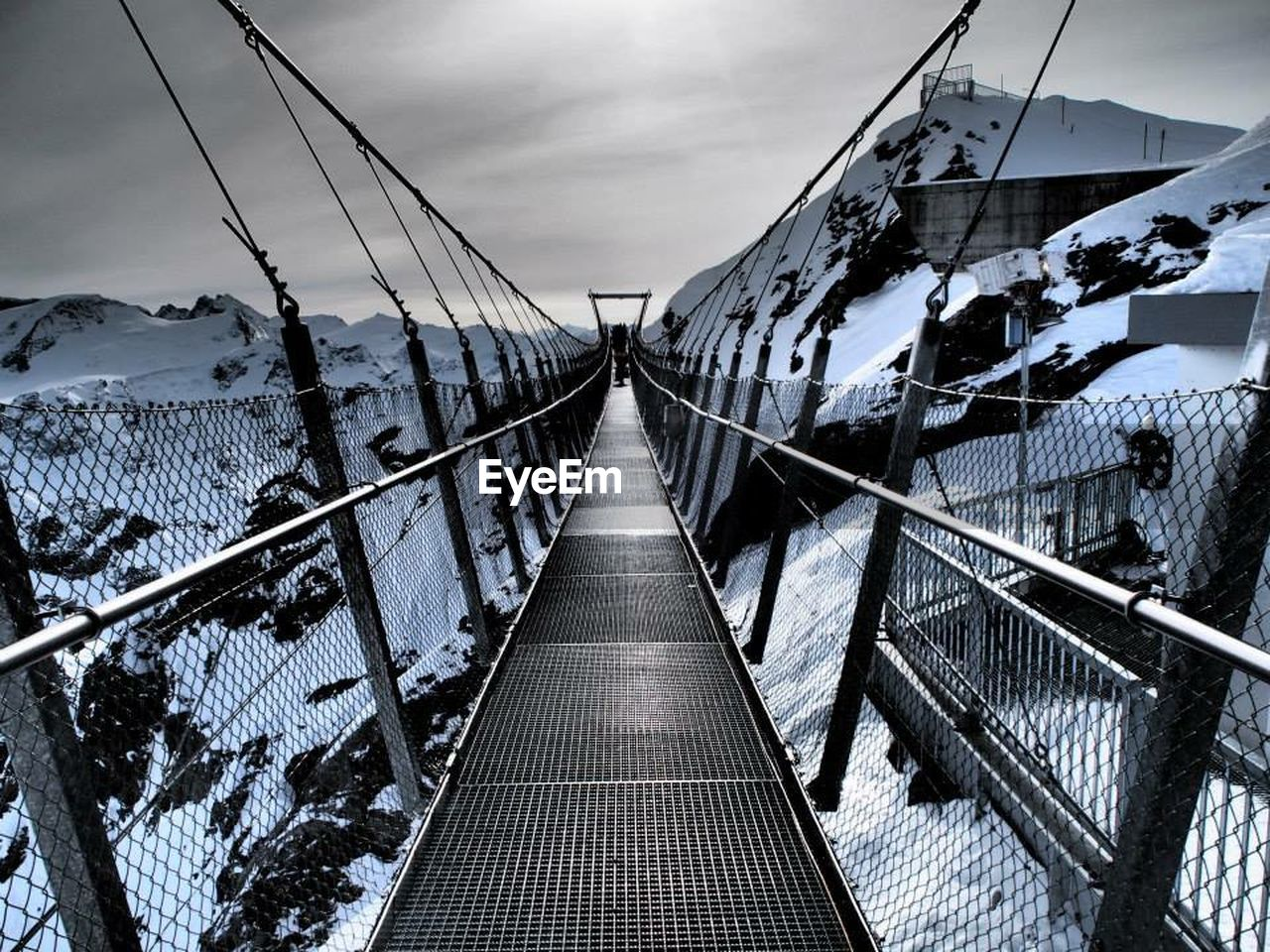 the way forward, railing, connection, sky, architecture, built structure, bridge - man made structure, day, cable, outdoors, no people, footbridge, nature