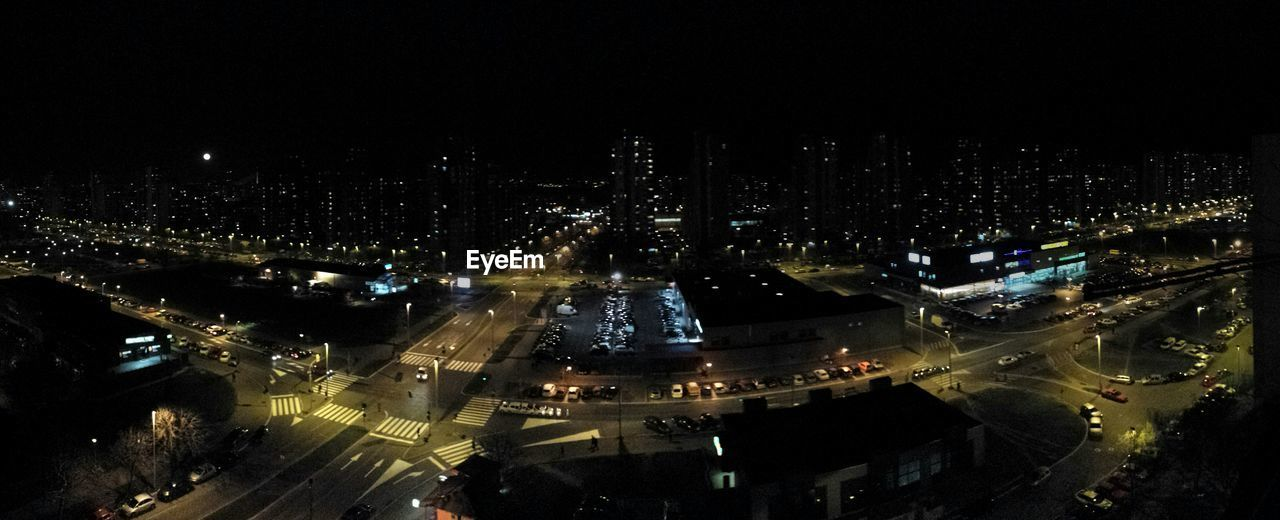 illuminated, architecture, night, building exterior, cityscape, city, built structure, high angle view, no people, outdoors, aerial view, skyscraper, modern, sky