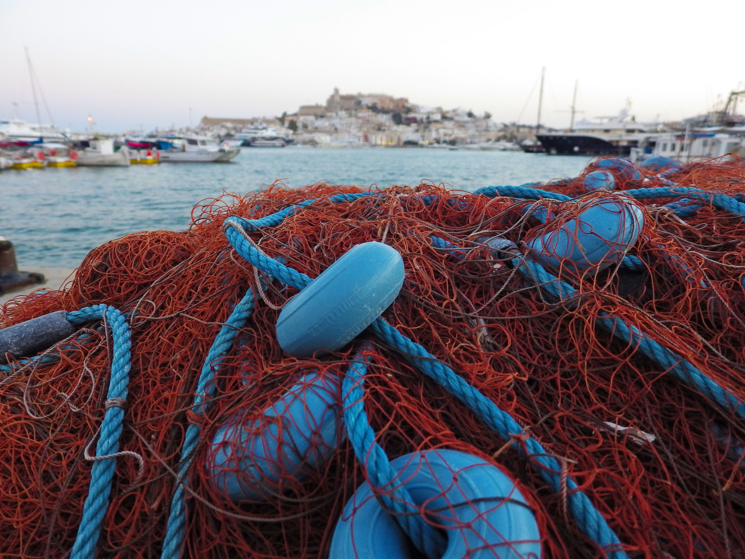 Close-up of a commercial fishing net