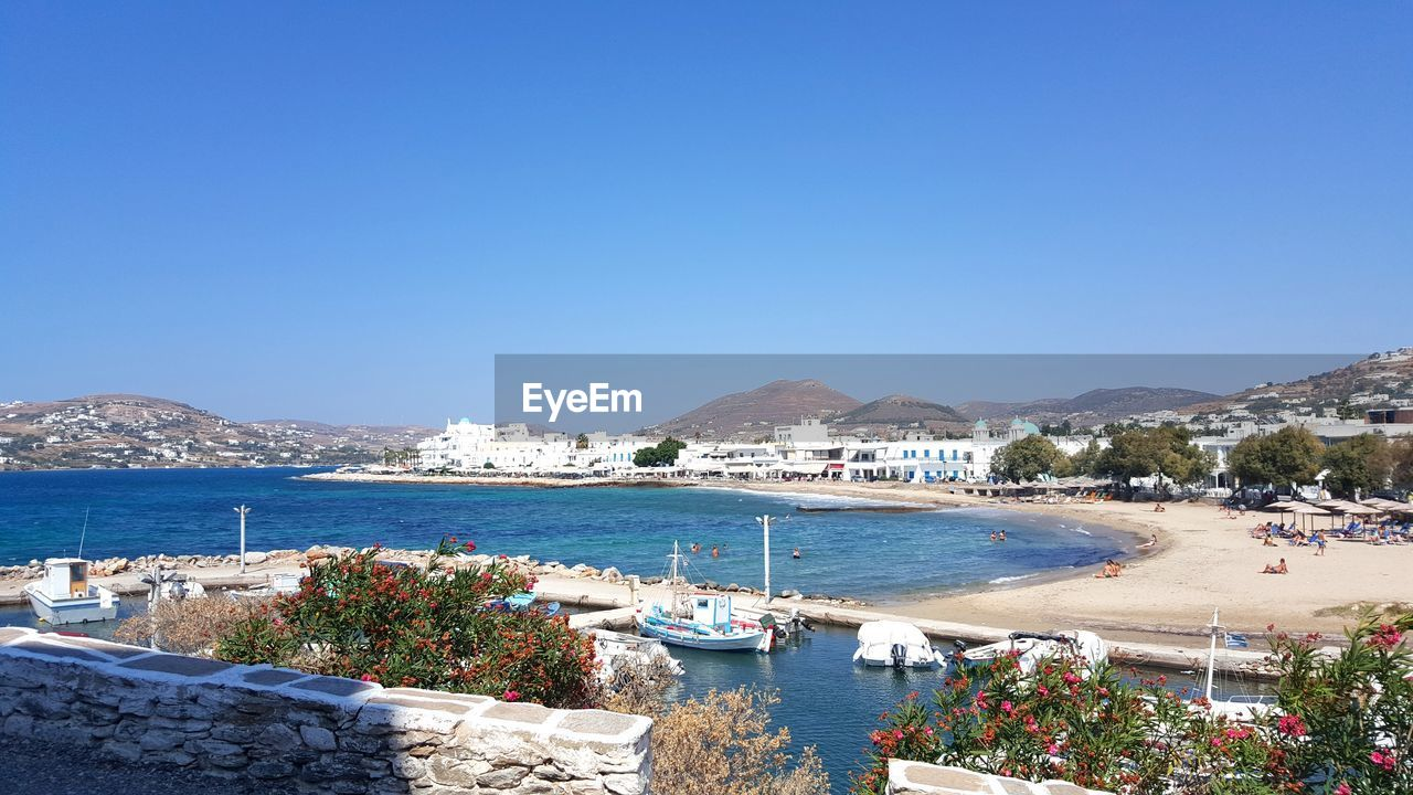 View of paros small marina and beach