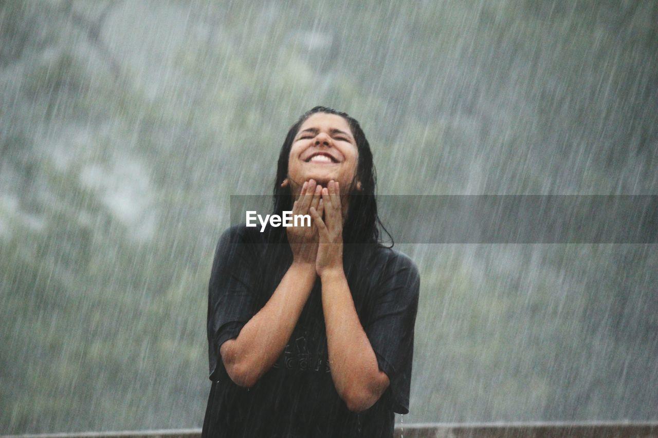 Young Woman In Rain