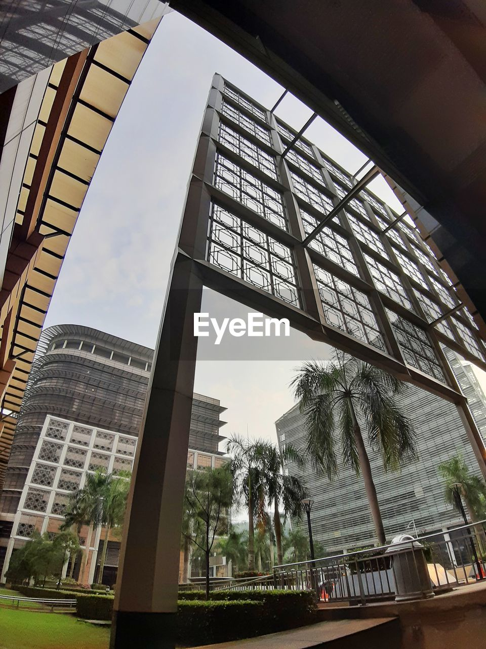 built structure, architecture, building exterior, sky, low angle view, building, day, glass - material, tree, city, palm tree, no people, nature, plant, outdoors, tropical climate, tall - high, window, travel destinations, office building exterior, skyscraper