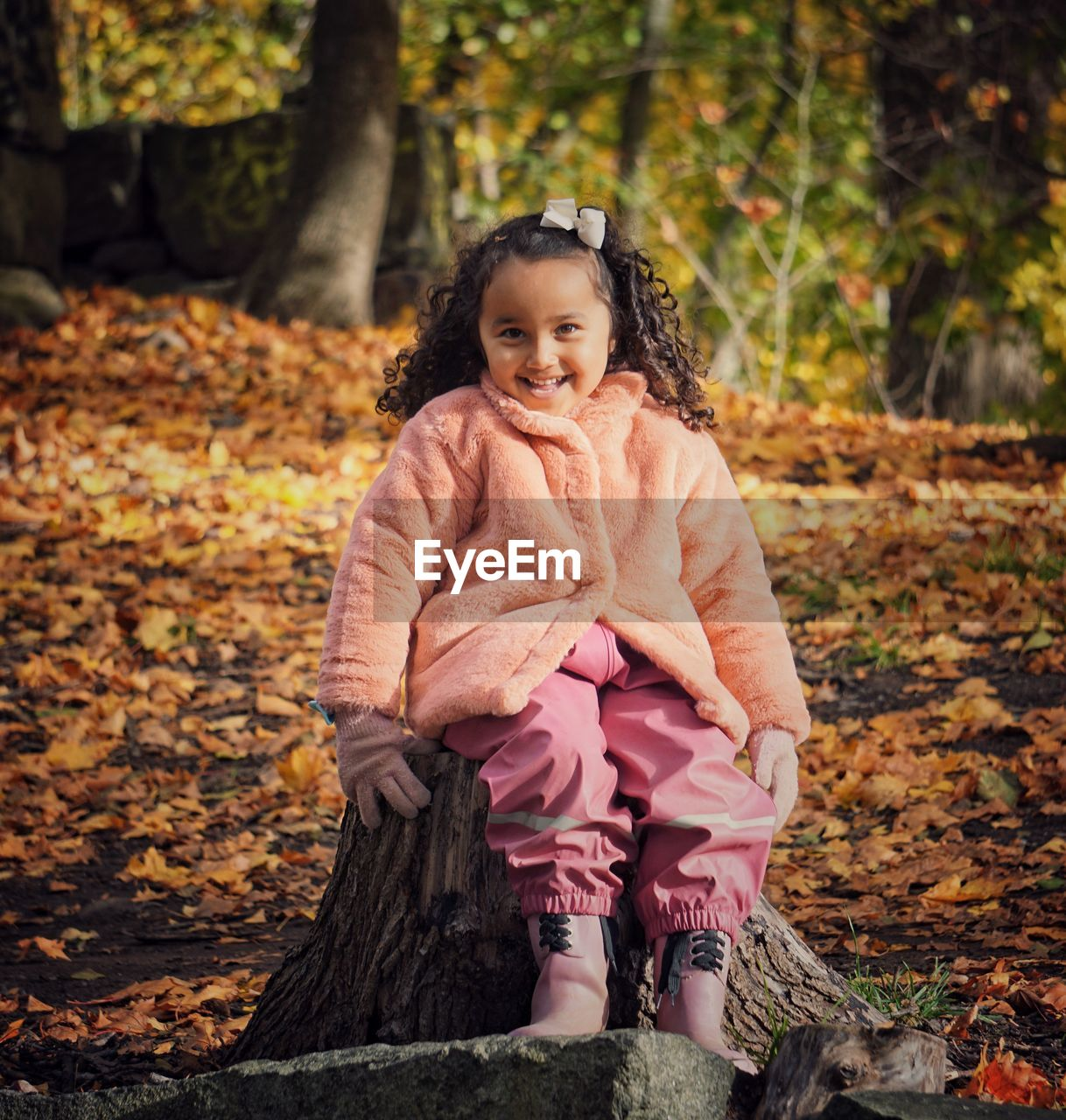 Portrait of smiling girl sitting on tree stump during autumn