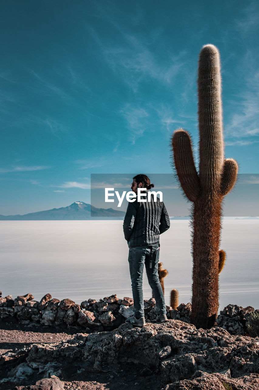 Man Standing By Cactus At Beach Against Sky