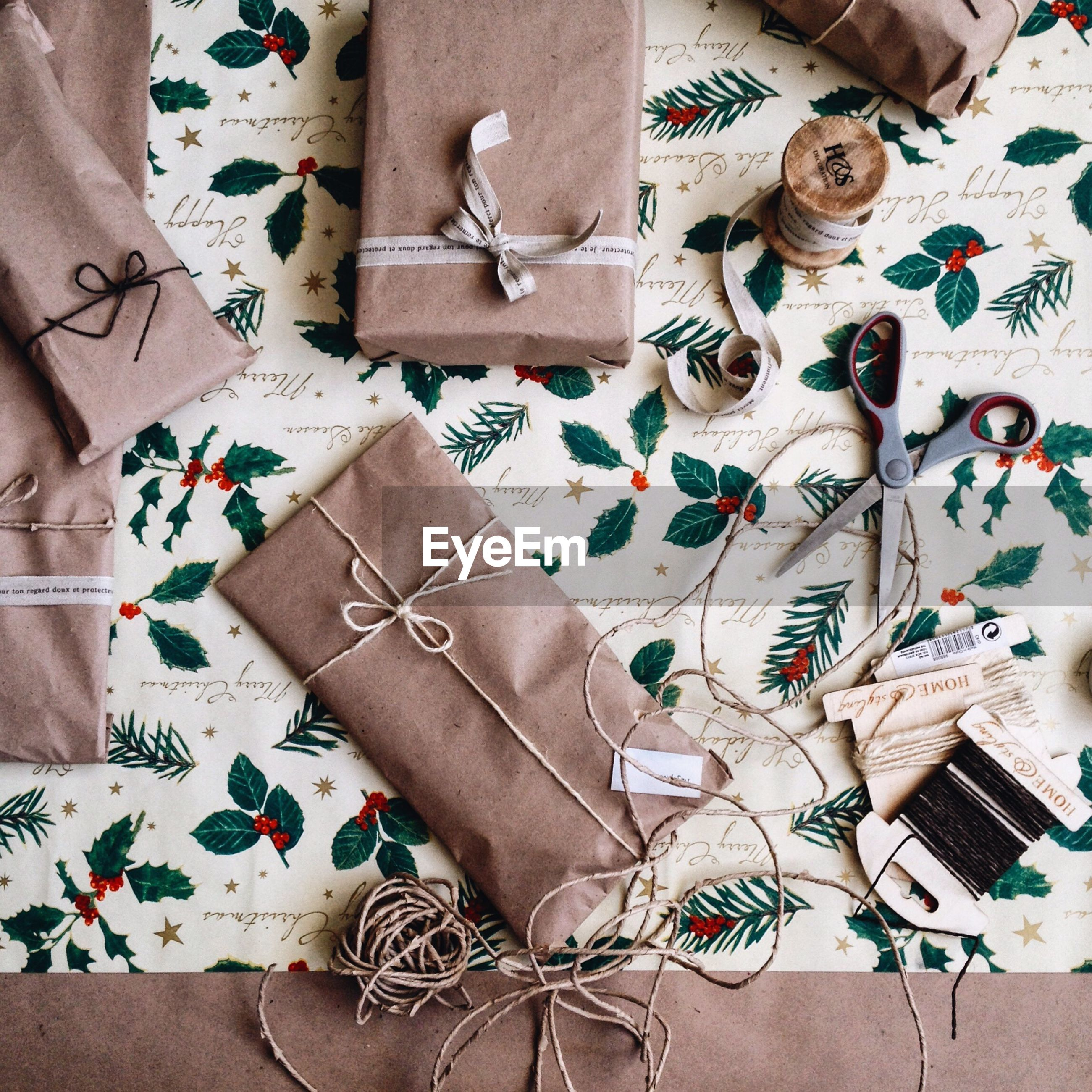 High angle view of gifts on table