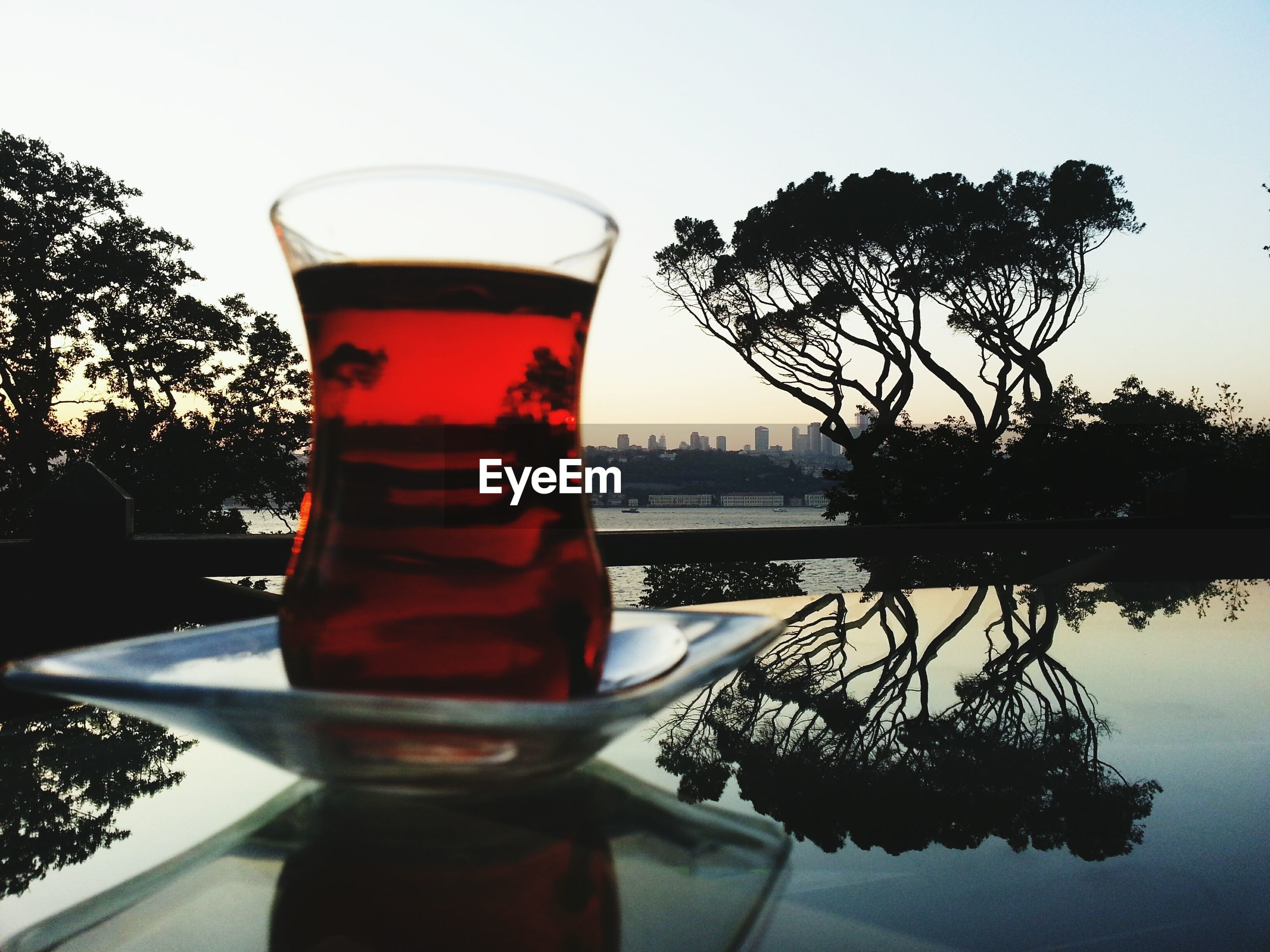 tree, water, drink, sky, reflection, table, close-up, sunset, lake, refreshment, food and drink, tranquility, nature, clear sky, glass - material, no people, river, tranquil scene, outdoors, sunlight