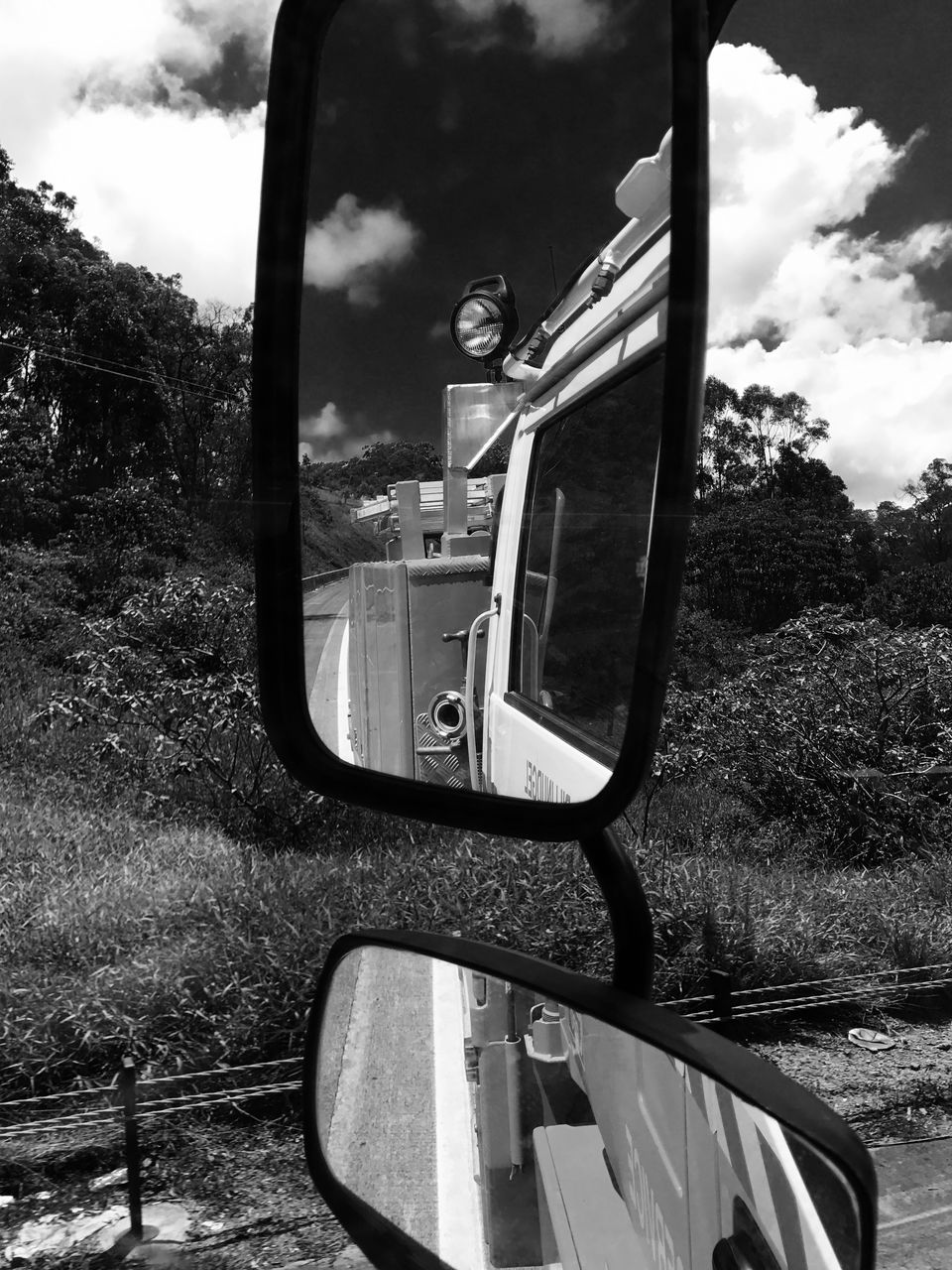 transportation, side-view mirror, mode of transport, reflection, cloud - sky, sky, land vehicle, day, car, tree, outdoors, one person, real people, nature, people
