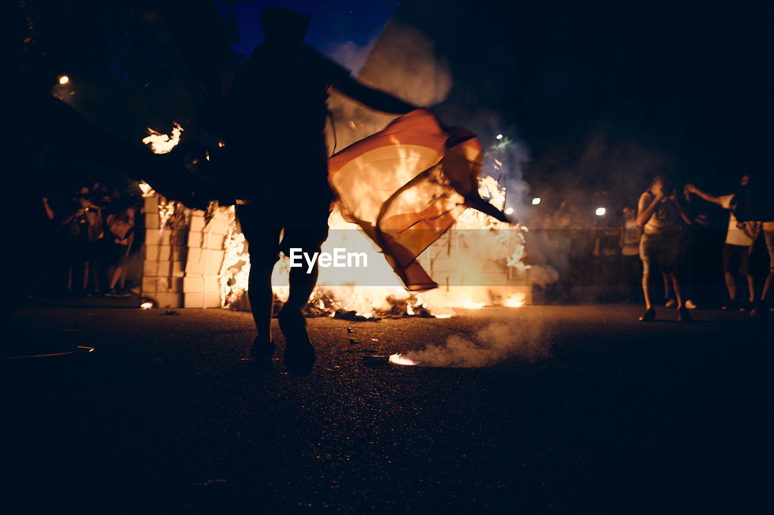 Riot in barcelona, catalonia