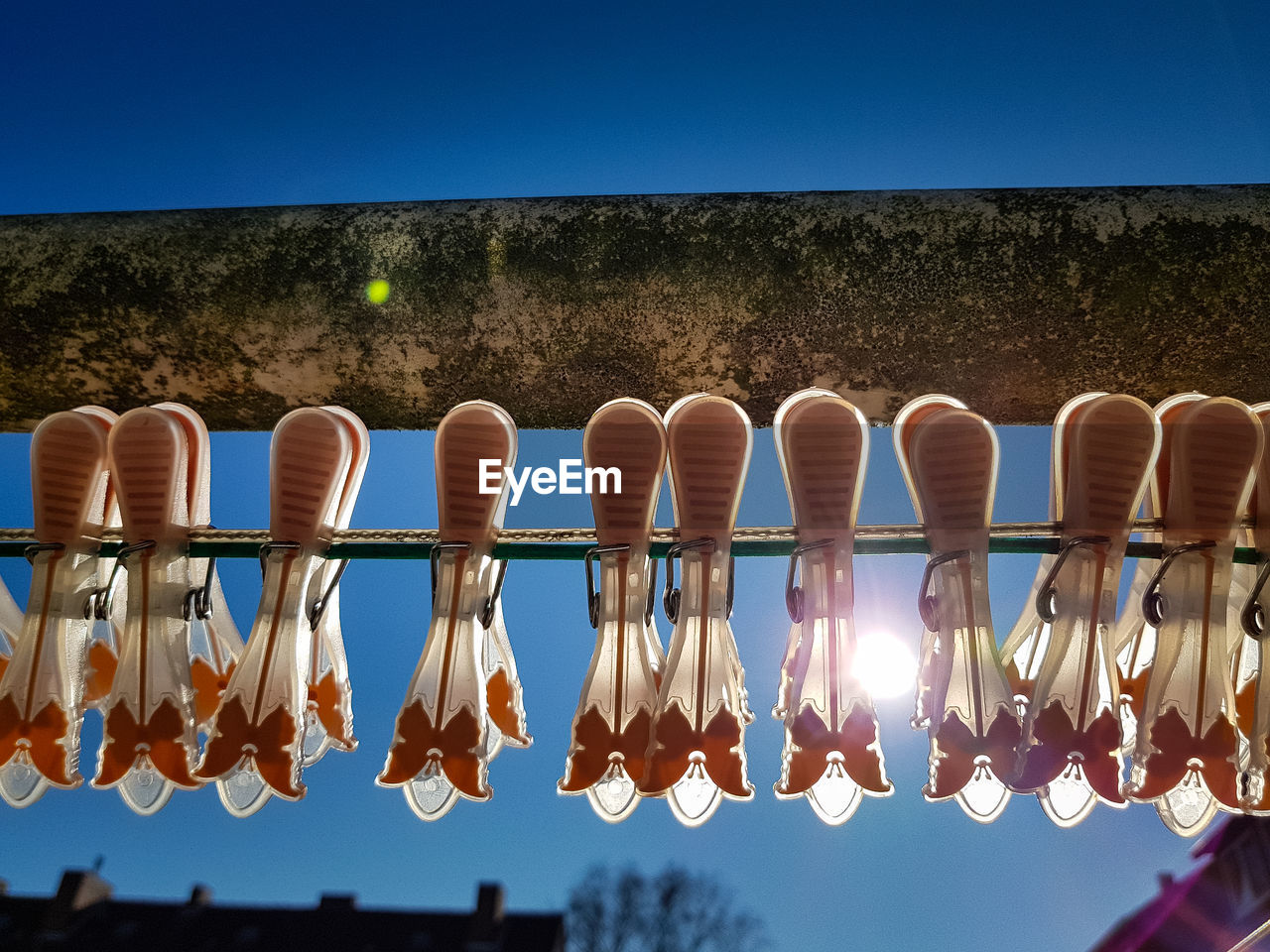 sky, clear sky, hanging, no people, side by side, nature, in a row, day, sunlight, drying, outdoors, low angle view, focus on foreground, string, blue, illuminated, clothesline, tree, clothing, water
