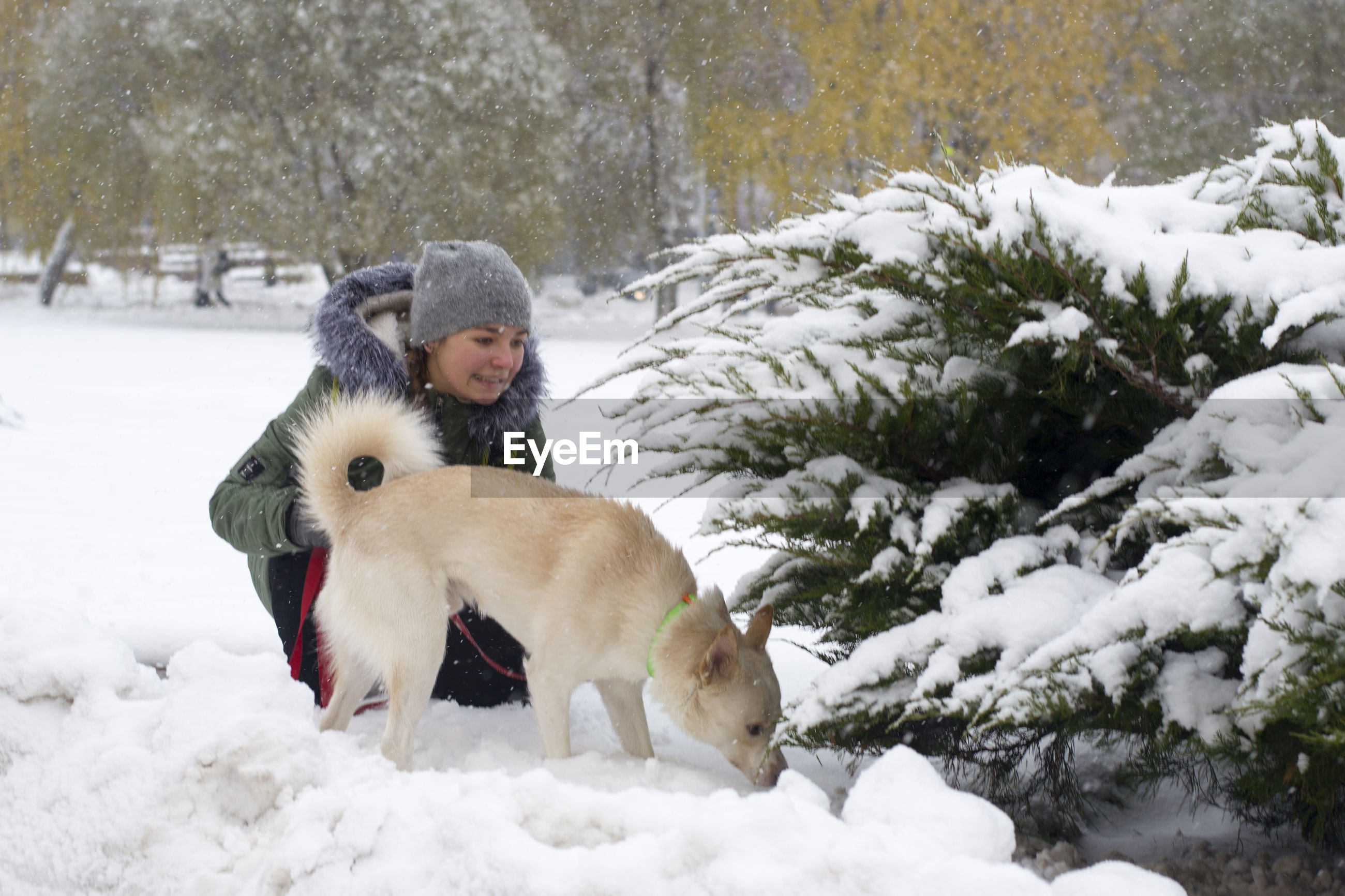 Girl with dog in russia