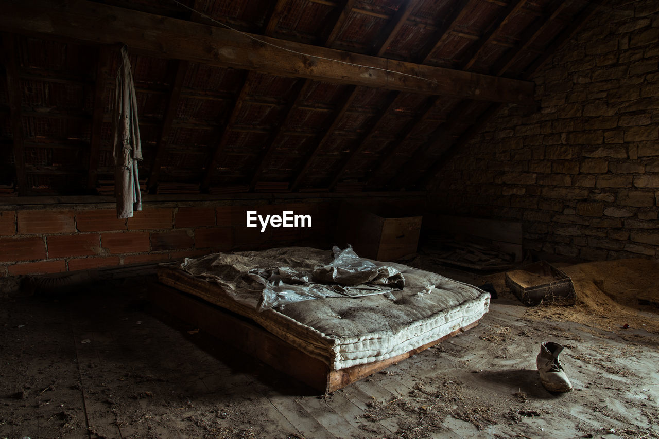 Bed in abandoned house