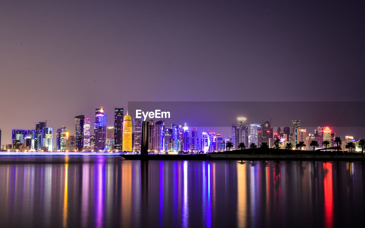 waterfront, water, architecture, reflection, illuminated, building exterior, night, city, built structure, building, urban skyline, sky, cityscape, landscape, skyscraper, office building exterior, no people, nature, river, tall - high, modern, purple, nightlife, financial district