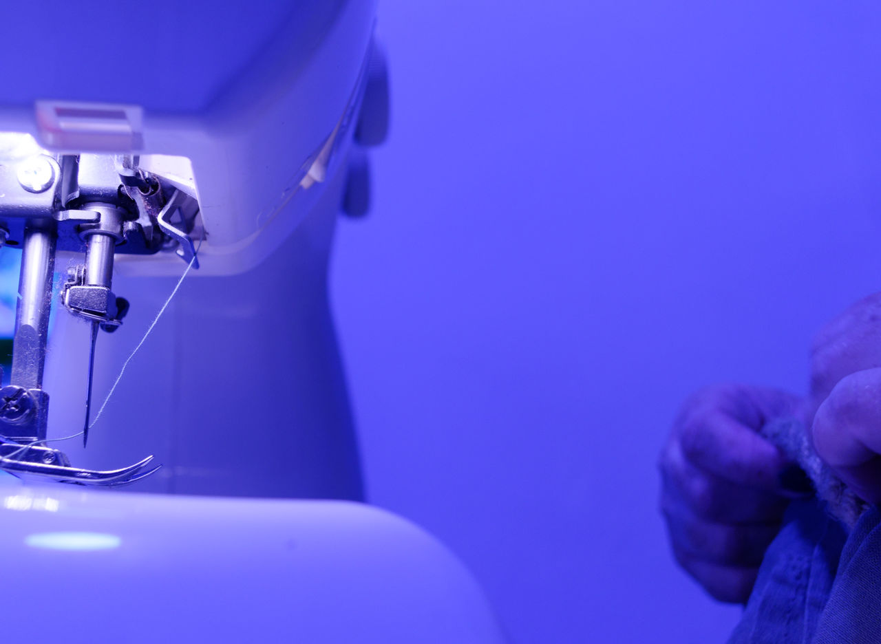 blue, technology, close-up, indoors, focus on foreground, no people, copy space, equipment, selective focus, purple, occupation, machinery, photography themes, table, metal, healthcare and medicine, blue background