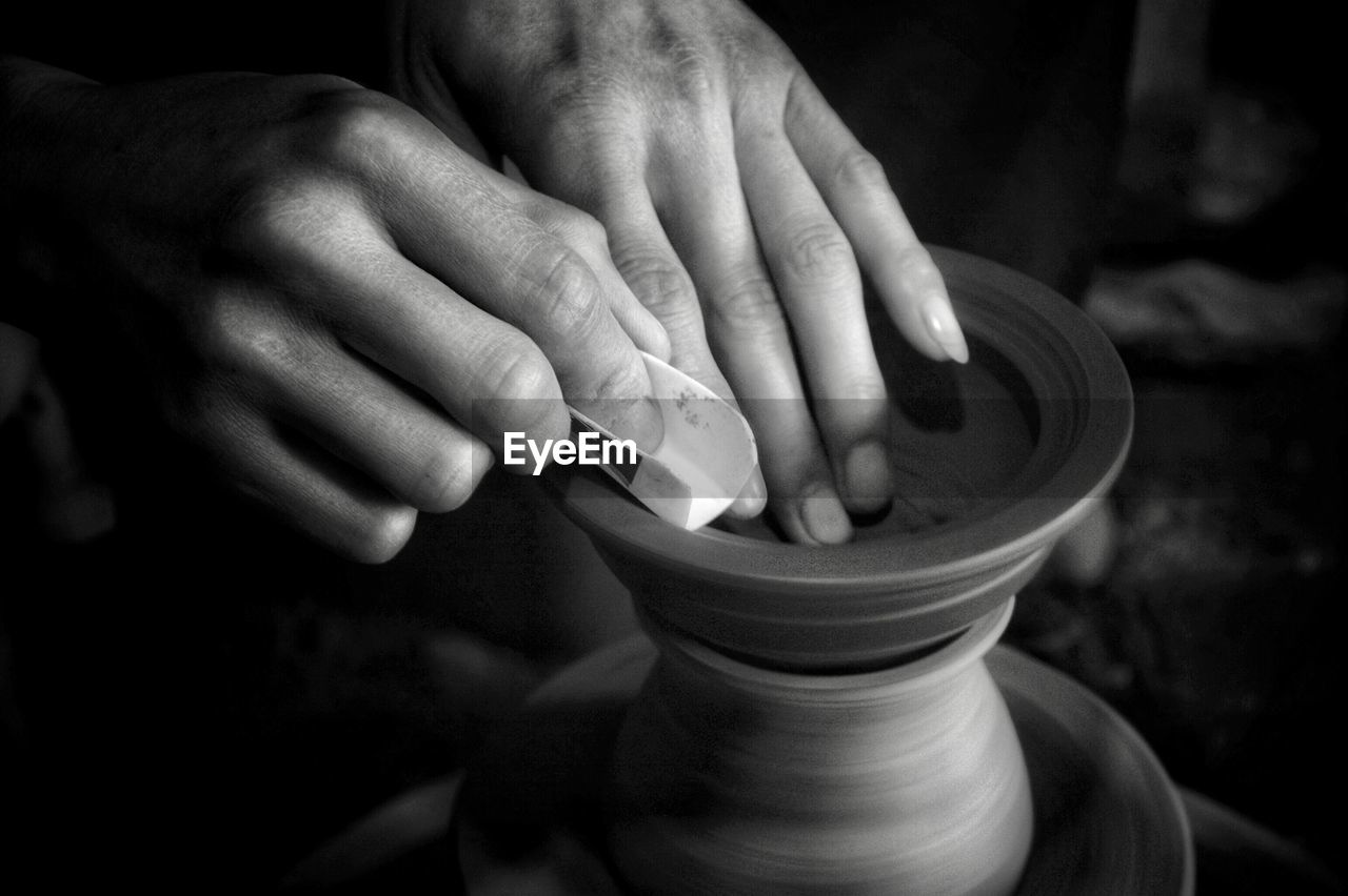 hand, human hand, one person, human body part, holding, close-up, focus on foreground, indoors, clay, real people, craft, art and craft, pottery, body part, human finger, unrecognizable person, finger, men, lifestyles