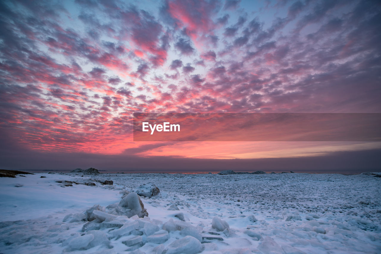sky, sunset, cloud - sky, scenics - nature, beauty in nature, winter, cold temperature, snow, water, tranquil scene, orange color, sea, tranquility, nature, frozen, ice, no people, idyllic, horizon over water