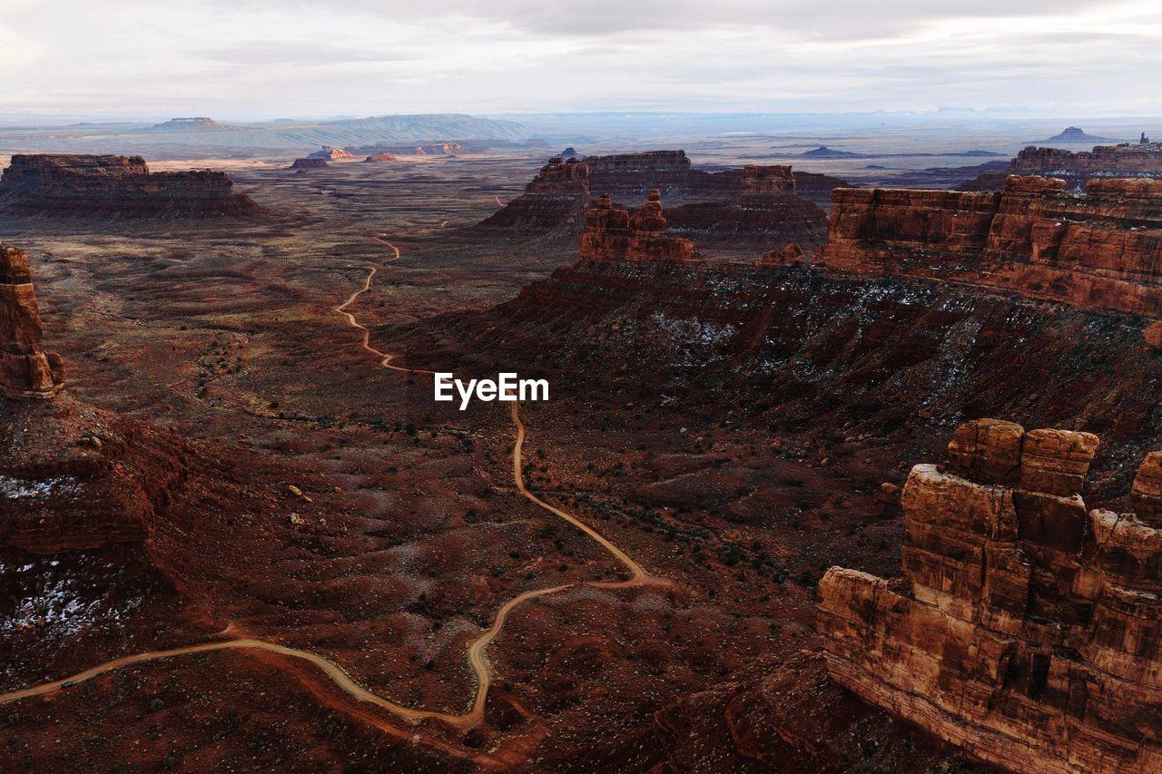 Aerial view of landscape in utah with dirt road