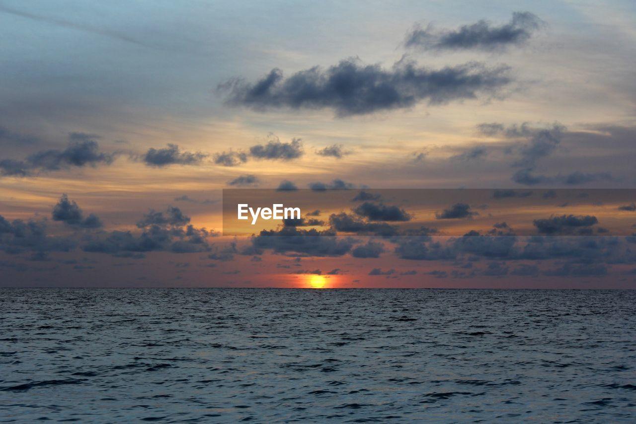 sky, sunset, water, sea, beauty in nature, scenics - nature, tranquility, cloud - sky, orange color, horizon over water, horizon, tranquil scene, waterfront, nature, no people, idyllic, non-urban scene, outdoors, sun