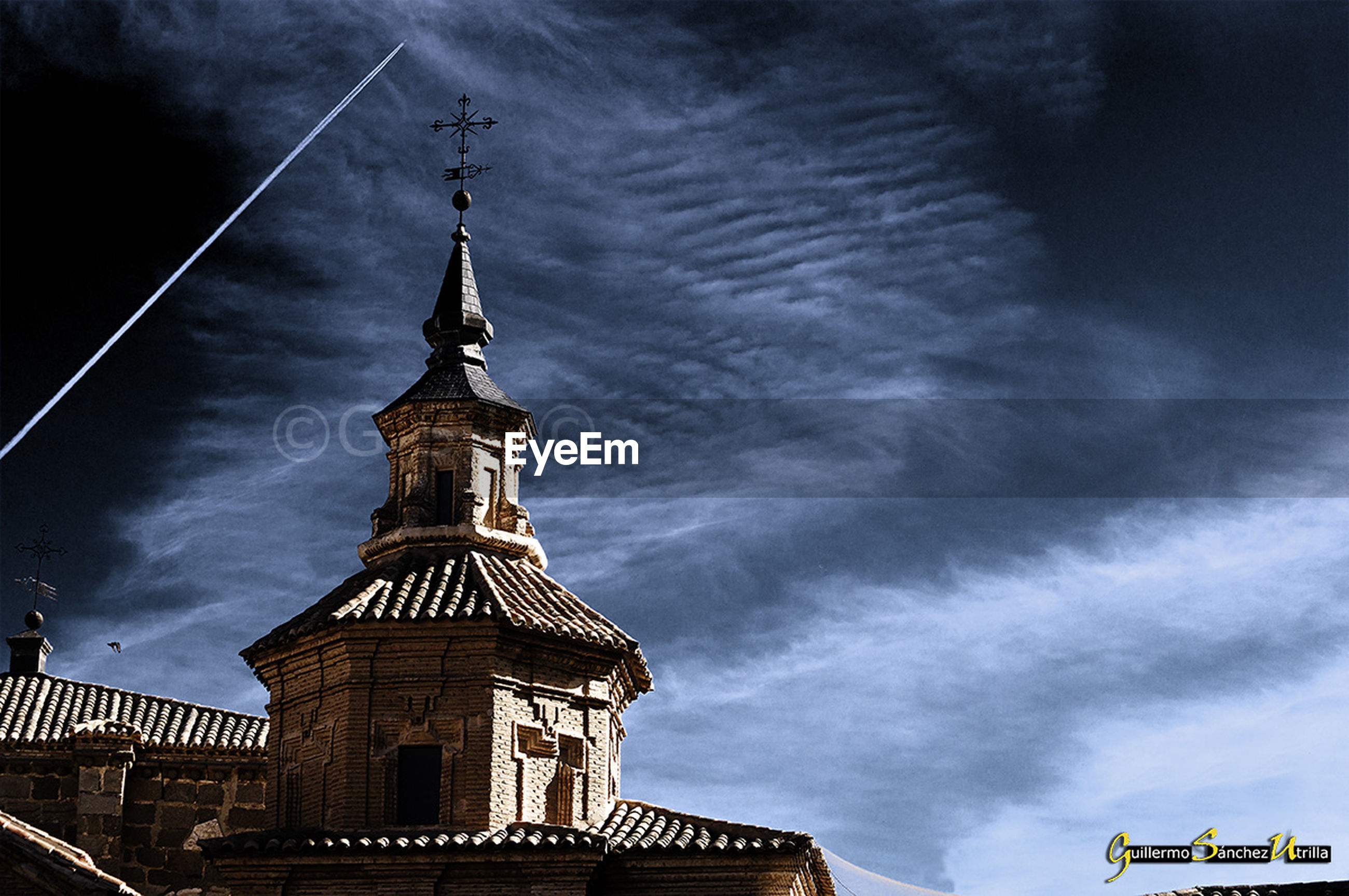 sky, architecture, cloud - sky, building exterior, built structure, low angle view, religion, no people, outdoors, spirituality, dramatic sky, place of worship, night, clock tower, astronomy, clock