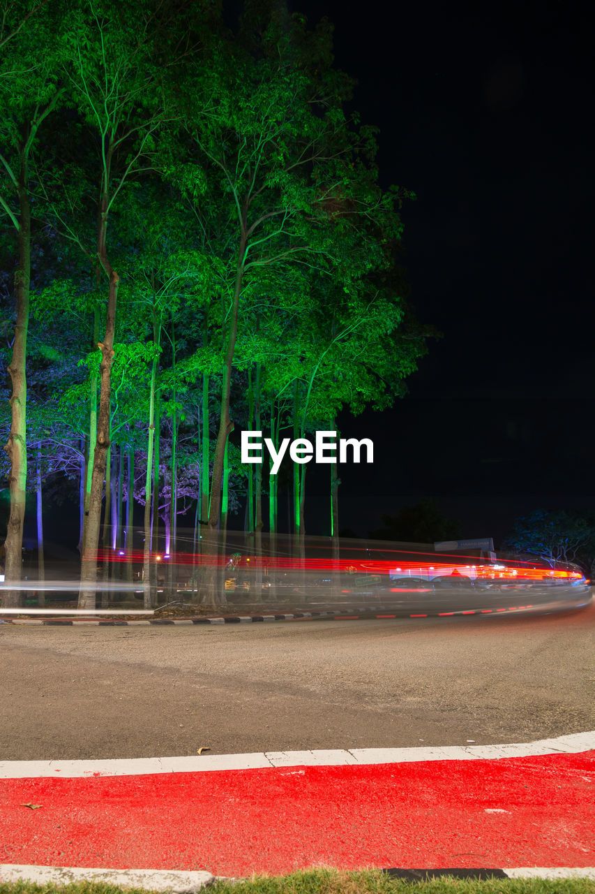 night, tree, illuminated, speed, light trail, no people, outdoors, red, motion, growth, road, nature