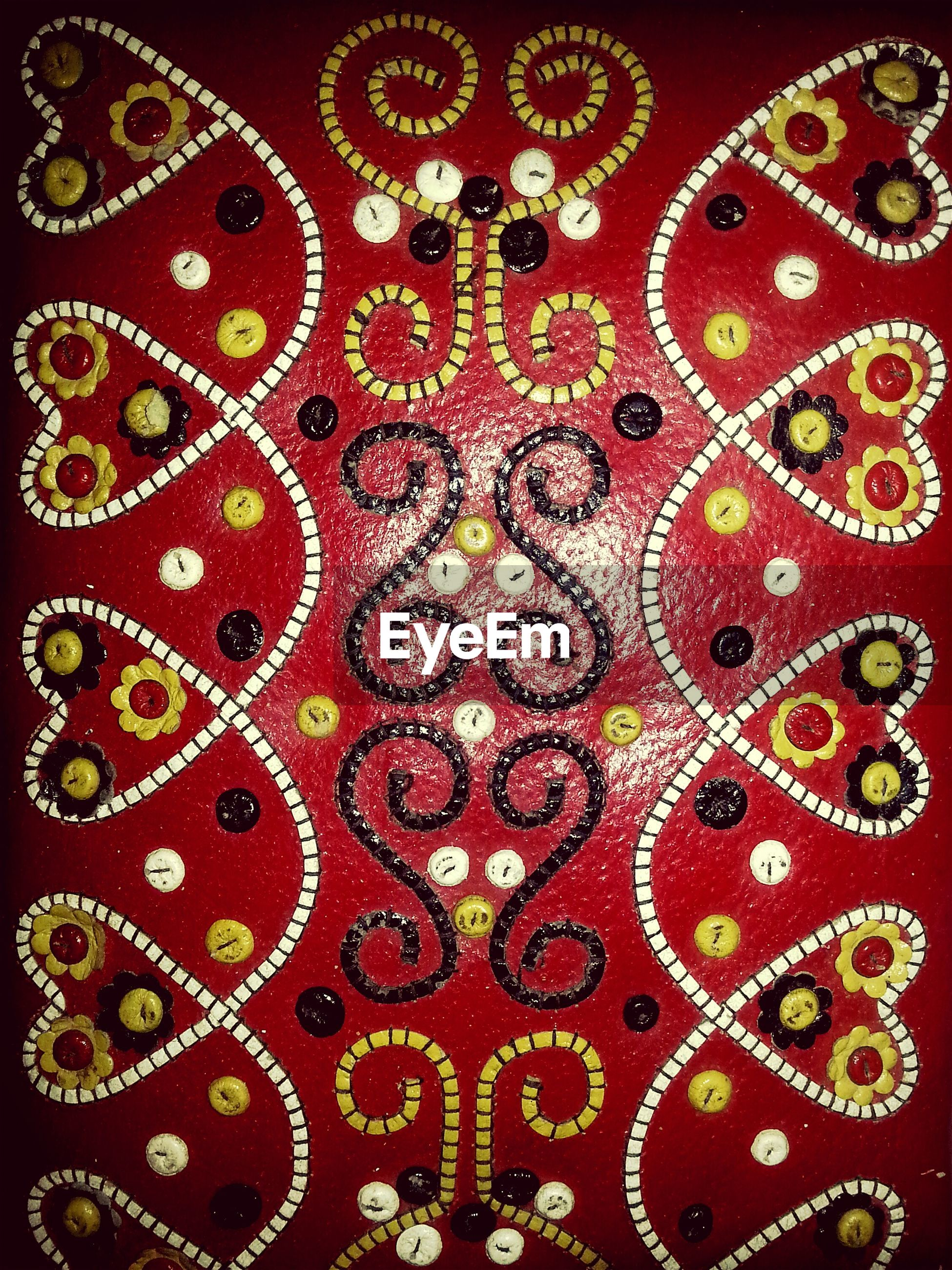 full frame, indoors, pattern, backgrounds, design, textile, textured, close-up, floral pattern, art and craft, creativity, ornate, fabric, art, multi colored, decoration, part of, detail, no people, ceiling