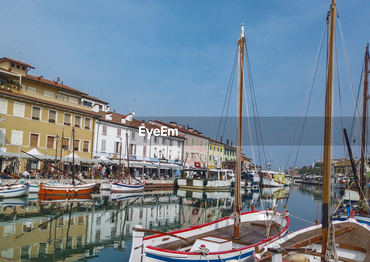 nautical vessel, water, transportation, mode of transportation, moored, built structure, architecture, sky, sailboat, building exterior, nature, harbor, pole, city, day, mast, reflection, waterfront, no people, canal, outdoors, yacht, marina