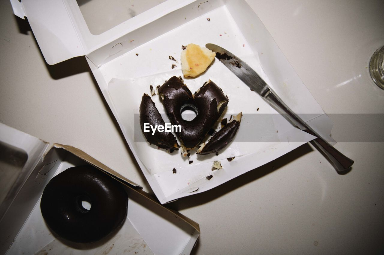 indoors, food, food and drink, high angle view, still life, no people, indulgence, freshness, animal, fruit, plate, sweet food, close-up, animal themes, wellbeing, ready-to-eat, healthy eating, appliance, table, dessert, snack, temptation