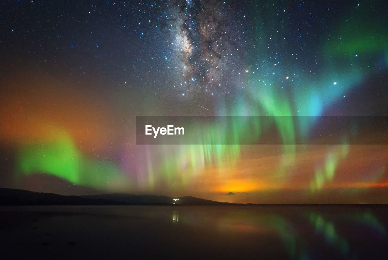 Scenic View Of Aurora Polaris Against Sky At Night