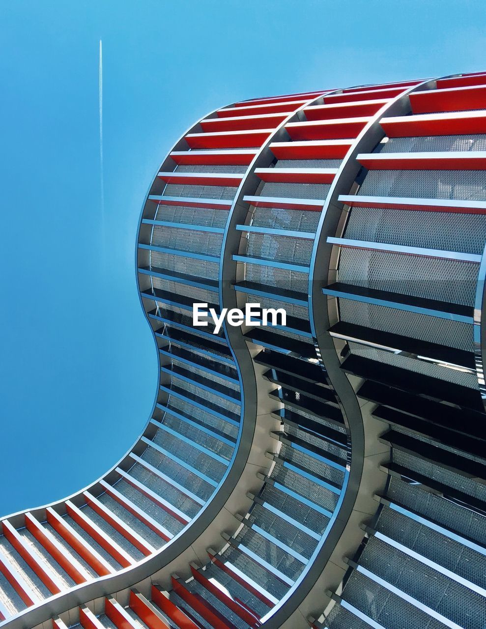 blue, metal, sky, pattern, red, no people, architecture, technology, industry, clear sky, built structure, day, nature, machinery, curve, modern, close-up, staircase, pipe - tube, striped, steel, alloy, silver colored, turquoise colored