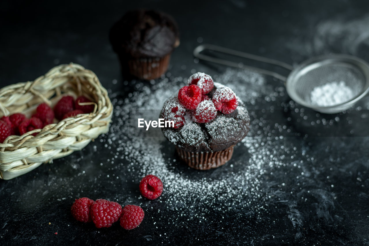 food, food and drink, fruit, freshness, berry fruit, sweet food, red, still life, indoors, healthy eating, raspberry, no people, dessert, sweet, indulgence, ready-to-eat, cake, baked, temptation, container