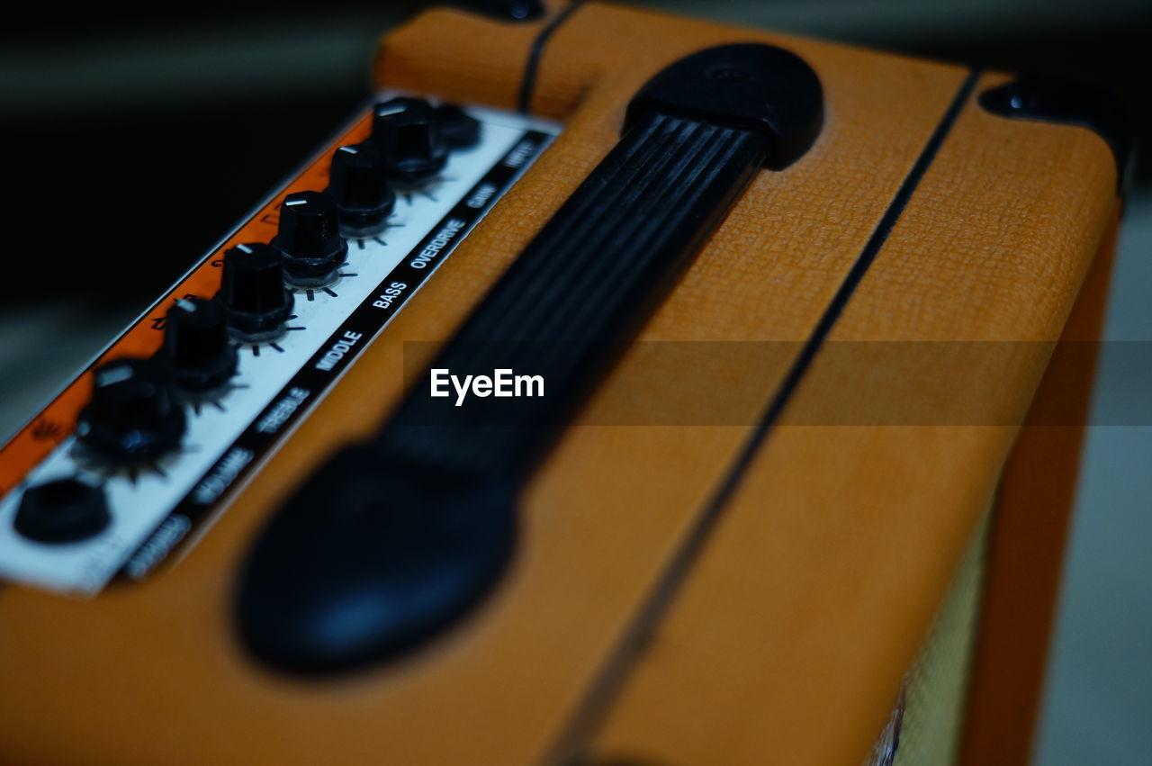 Close-up of radio