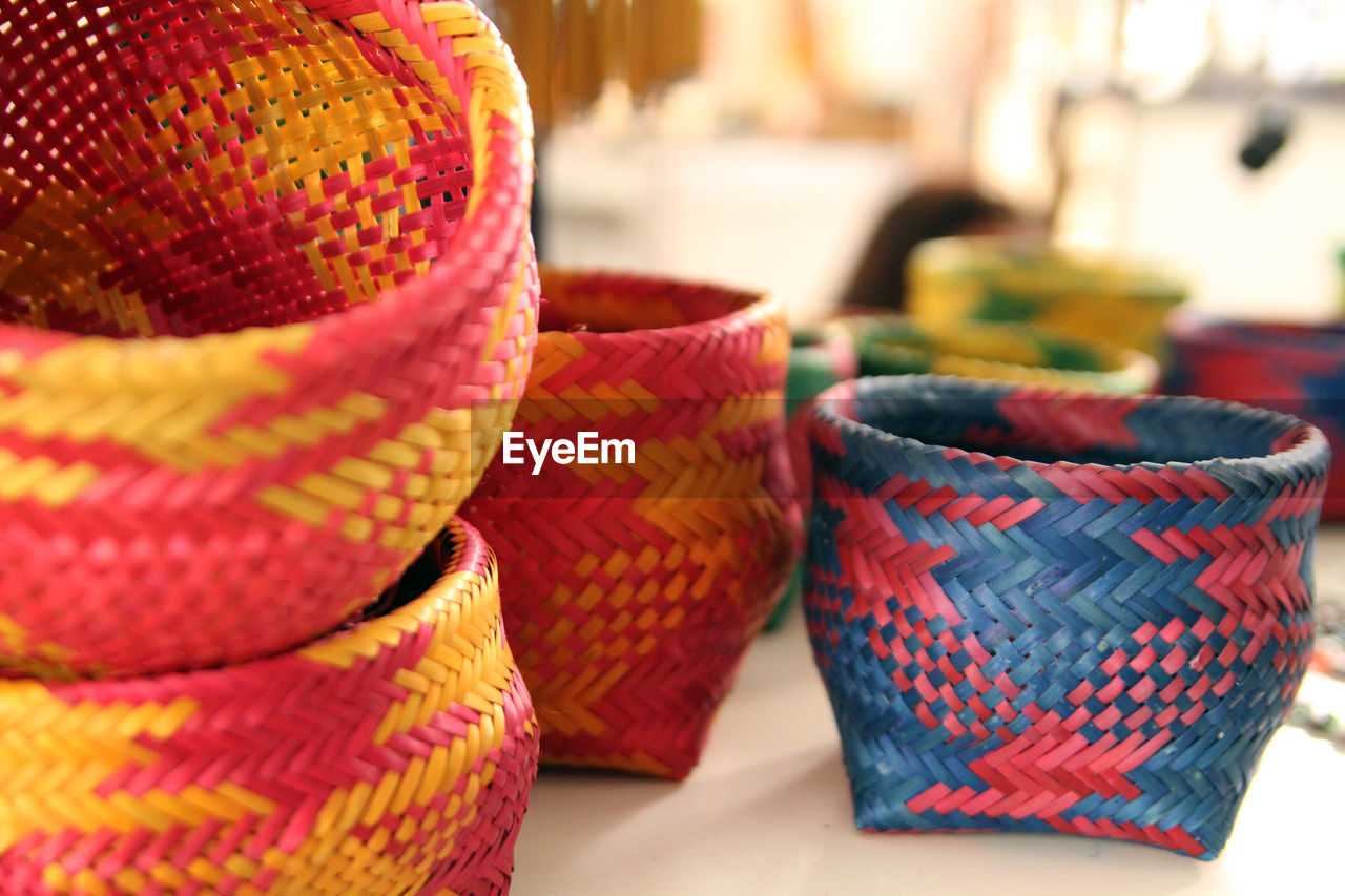 Close-Up Of Colorful Baskets For Sale At Market