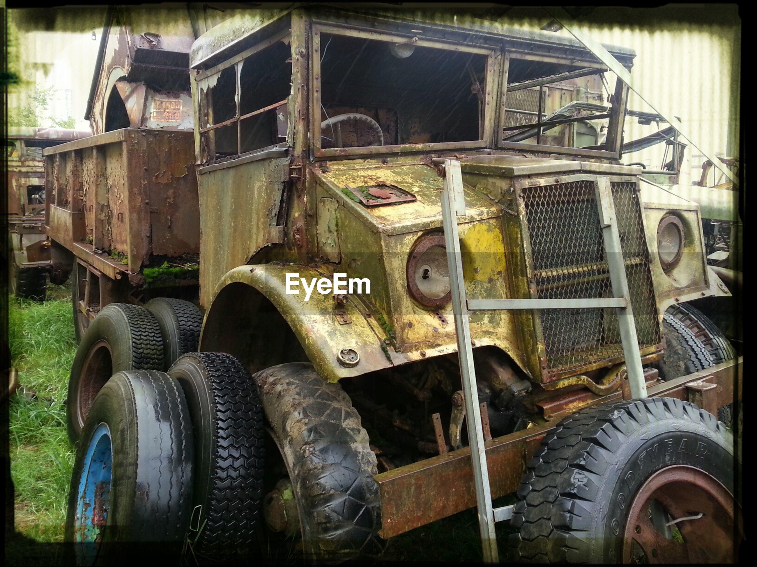 Abandoned truck in junkyard