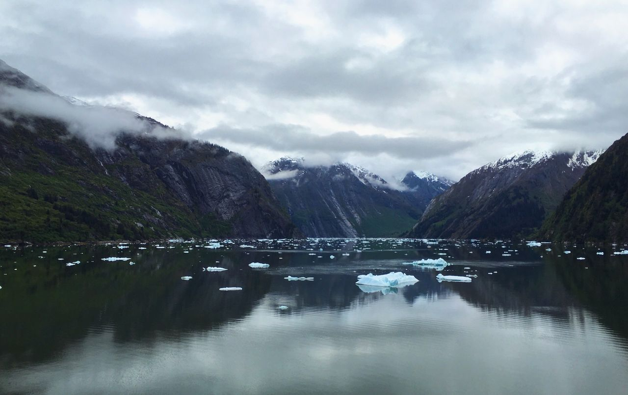 reflection, mountain, nature, water, beauty in nature, sky, lake, waterfront, outdoors, no people, snow, day, iceberg, scenery
