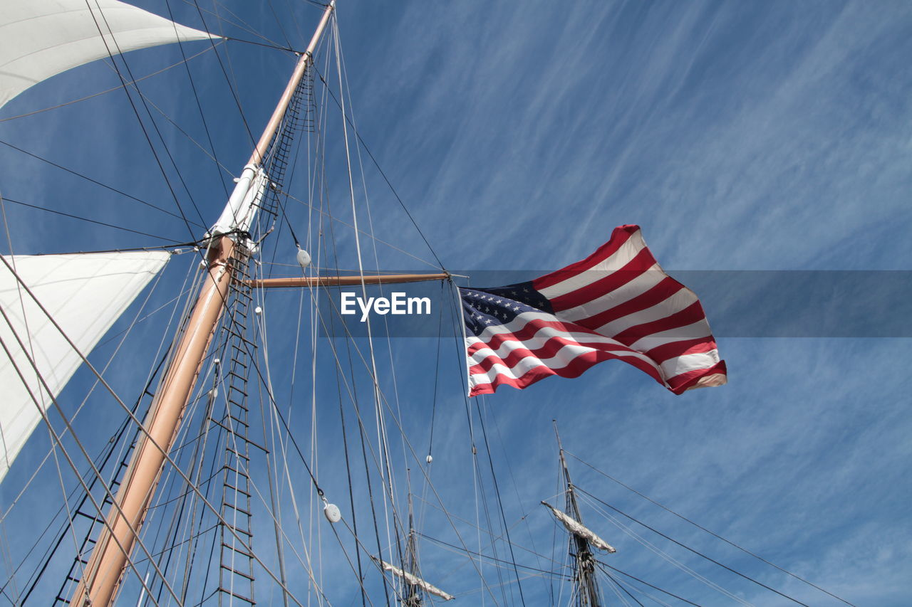 Low angle view of flag on mast against sky